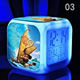 Enjoy Life : Cute Digital Multifunctional Alarm Clock With Glowing Led Lights and Moana sticker, Good Gift For Your Kids, Comes With Bonuses (03)