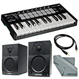 Novation Launchkey Mini MK2 25-Key USB MIDI Controller and Stereo Pair Bluetooth Monitor Accessory Bundle