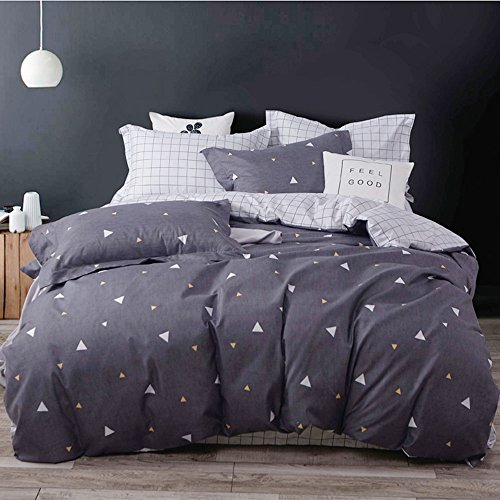 Uozzi Bedding 3 Piece Kids Duvet Cover Set with Zipper Closure,Gray Printed Pattern with triangle, Reversible, Brushed Microfiber, Durable for kids boys girls(Drak gray, Queen90
