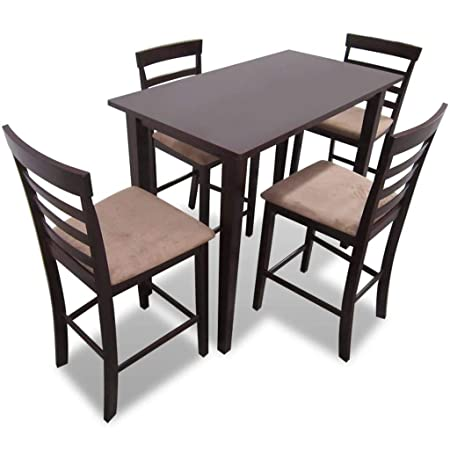 vidaXL Set Conjunto Mesa de Bar Madera con 4 sillas Comedor Cocina ...