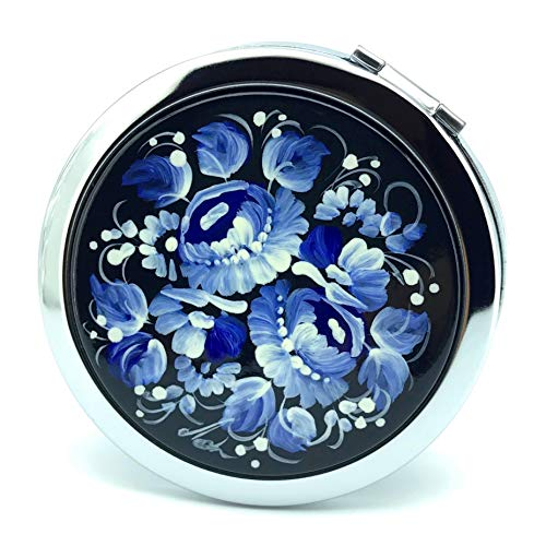 Sapfir Petrykivka Ethnic Floral Design Hand Painted in Ukraine Round Cosmetic Makeup Double-Sided Pocket Mirror for Purses and Handbags, Small and Unique Gift for Women (Blue & White)
