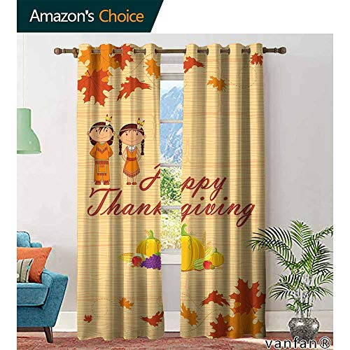 Big datastore Kids Thanksgiving curtainChildren in Native American Costume Preserving Indigenous Heritage for Room Darkening Panels W96 x L96 Orange Multicolor