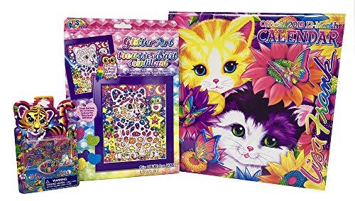 Lisa Frank 2019 Calendar, Glitter Art Kit and Press On Nails Gift Set. -