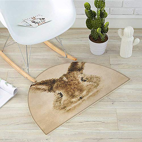 Geometric Semicircular CushionRabbit Portrait with Digital Geometrical Dots Points Vintage Color Bunny Face Entry Door Mat H 19.7