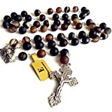 elegantmedical Natural Agate BEAD ROSARY Parcrucifix catholic NECKLACE Men's Womens Religious