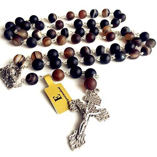 elegantmedical Natural Agate BEAD ROSARY Parcrucifix catholic NECKLACE Men's Womens Religious by elegantmedical