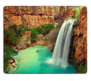 Arizona Waterfall Nature Scenery Landscape Mouse Pads Customized Made to Order Support Ready 9 7/8 Inch (250mm) X 7 7/8 Inch (200mm) X 1/16 Inch (2mm) High Quality Eco Friendly Cloth with Neoprene Rubber Luxlady Mouse Pad Desktop Mousepad Laptop Mousepads Comfortable Computer Mouse Mat Cute Gaming Mouse pad