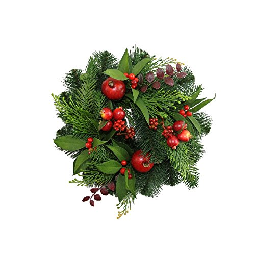 12 Inch Christmas Candle Ring With Artificial Mixed Pine Pomegranates and Berries DE 253758