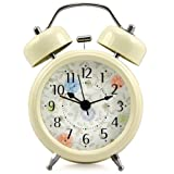 SODIAL(R) RETRO STYLE DOUBLE BELL WIND UP ALARM CLOCK TRADITIONAL BEDSIDE LOUD WITH LIGHT