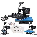 "TC-Home 8 in 1 Heat Press Machine 12""x 15"" Multifunction Digital T-Shirt Mug Cup Plate Cap Hat w/100pcs A4 Transfer Paper"