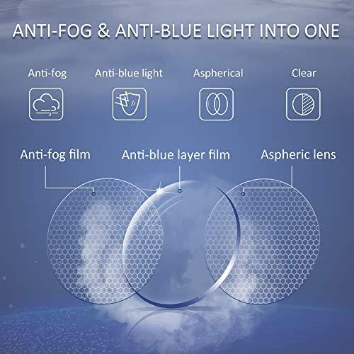 LifeArt Anti Fog Blue Light Blocking Glasses, Anti Eyestrain, Computer Reading Glasses for Women and Men, Anti Glare, Upgraded Anti Fog Lens (Tortoise, No Magnification)