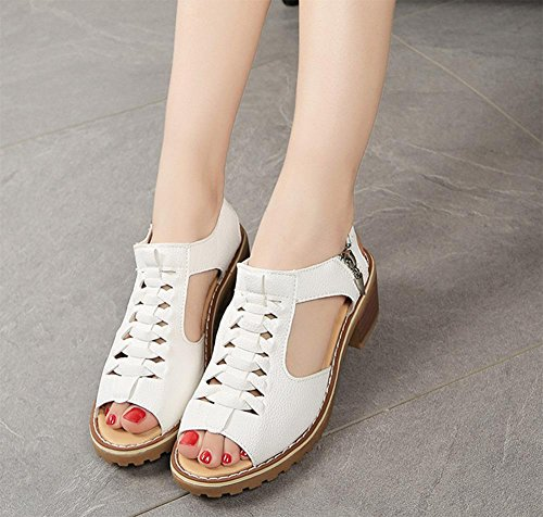 Sandalen White Pantoffeln Sandalen Frauen und Reißverschluss Fräulein Sandalen Studenten Xia Ji qvBfABX