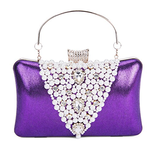 Envelope Handbags Elegant Pearl for Lifewish Rhinestones Purple 2017 Women's Women Evening Hard Bag New Clutch Eqg5COx5w