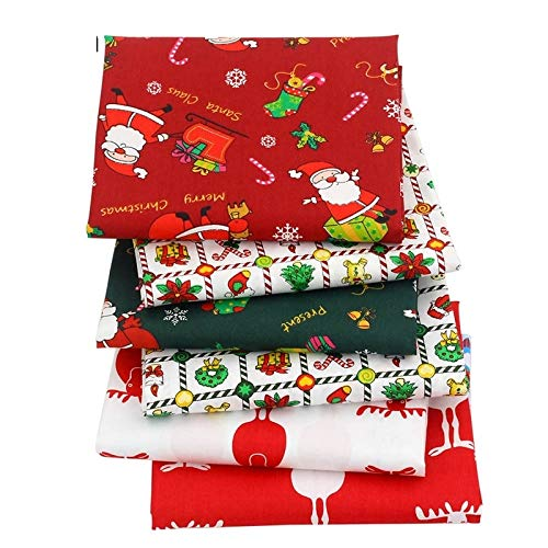 6PCS/LOT 40X50CM Christmas Fabric by the Yard-Christmas Decor Patchwork Fabric-Fat Quarters for Sewing-Fat Quarters Fabric Bundles Baby-Fat Quarters Fabric Autumn-Patchwork Fabrics for Quilting Sewing