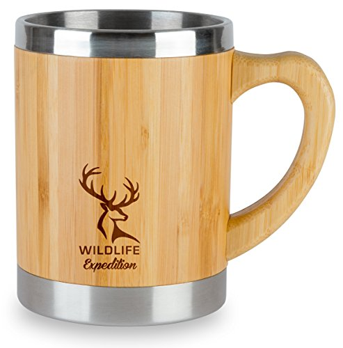 Insulated 13oz Coffee Mug Stainless Steel Amp Bamboo Cup