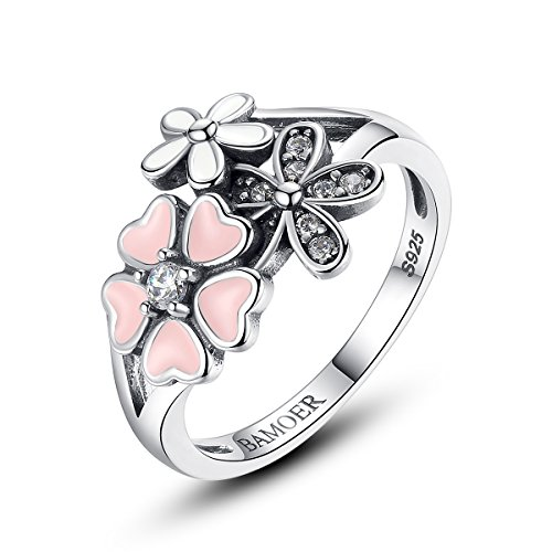 BAMOER 925 Sterling Silver Pink White Enamel Cherry Blossom Ring for Women Anniversary Ring Size 6 7 8 9 (9) (Flower Enamel Ring)
