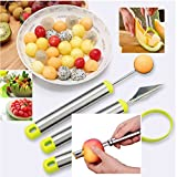 Reliabest Fruit Corer, Melon Baller Cutter, Seed Remover, Fruit Carver - Stainless Steel - 4-Piece Fruit Cutting Set - Make Fruit Salad Easily