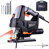 Jigsaw with Laser & LED, 6.7 Amp 3000SPM,6 Variable Speed, 6 Blades, Adjustable Aluminum Base, Pure Copper Motor,10 Feet Cord,Includes Carrying Case | Tacklife PJS02A