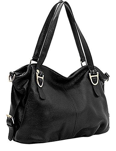 CUKKE Damen Echtes Leder Handtasche Elegant Taschen Rot Schwarz