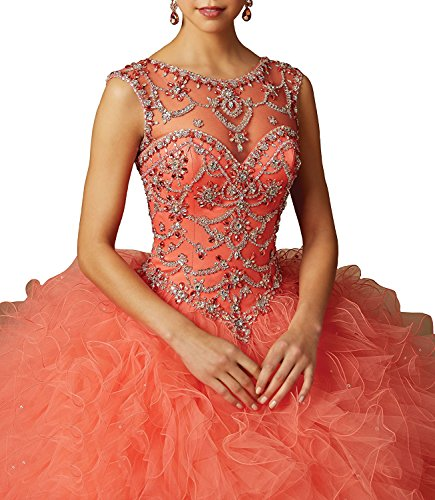 Coral Aisha Ball Dresses Organza Gown Gowns Beaded Prom Sweetheart Quinceanera Women's q4q6Hv