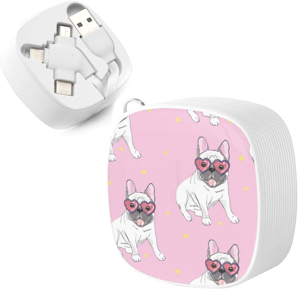 A Necessary Data Cable for Home and Car Travel Pug with Sunglasses Square Three-in-One Data Cable