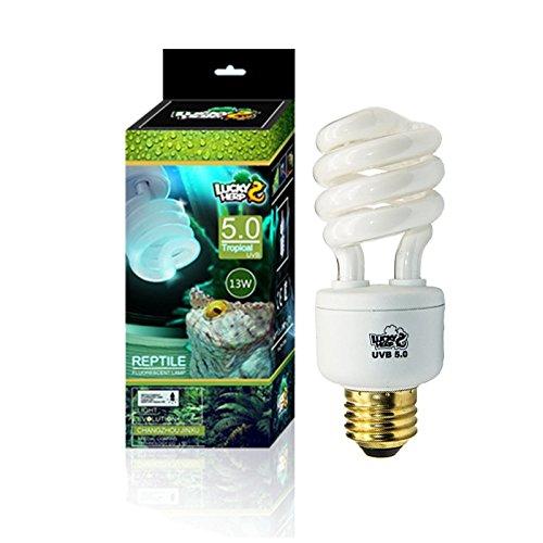 Lucky HERP Reptile UVA UVB Light 5.0 Compact Fluorescent Tropical Terrarium Lamp 13 26 Wattage (13W) by LUCKY HERP