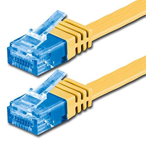 3m - Câble plat CAT6a Ethernet (500 Mhz) jaune - 1 piece (Cat 6a) - transfert de données haut supplémentaire - | 3m | jusqu'à 10000 Mo/s | Câble Réseau RJ45 | ruban | mince | Gigabit | 8P8C ( Or plaqué 3? ) de