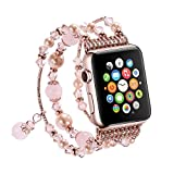 SEANADO Apple Watch Band, Fashion Handmade Elastic Stretch Faux Pearl Bracelet Replacement Women Girls iWatch Bands Strap for Apple Watch Series 3, Series 2, Series 1 (38mm, Rose Gold)