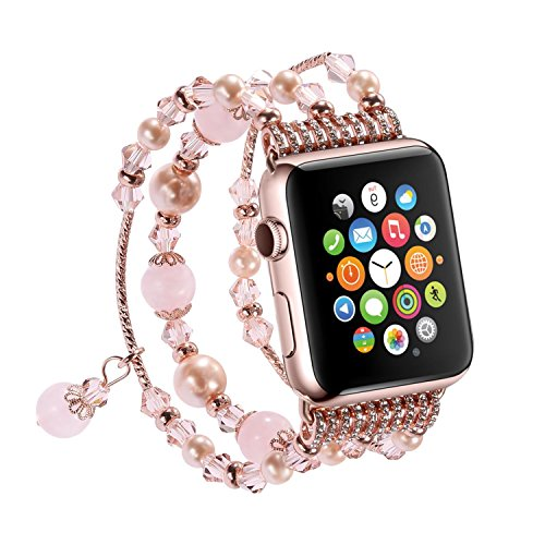 Newest Apple Watch 3/2/1 Replacement Band, Fashion Holiday Gift Beaded Bracelet, Cool Birthday Wedding Christmas Gift for Women Girls, Apple Watch Series 38mm/42mm (Pink - 42mm)