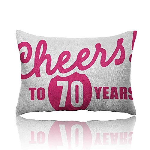 - Anyangeight 70th Birthday Small Pillowcase Cheers to 70 Years Old Hand Written Calligraphy Birthday Party Image Zipper Pillowcase 20