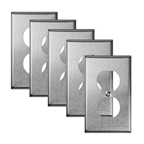 TOPELE 1-Gang Duplex Receptacle Stainless Steel Wall Plate, Cover Plate for Home & Workplace Decor with Screw, Standard Size (Pack of 5)
