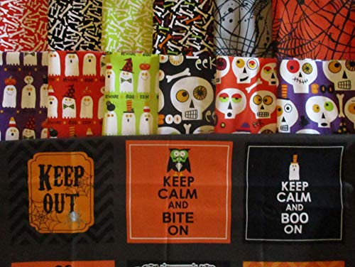 Boneheads by Ellen Crimi-Trent from Clothworks 12 Fat Quarters + 1 Panel Cotton Quilt Halloween Fabric Skeletons & Ghosts -