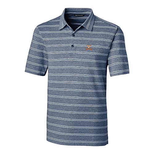 Cutter & Buck NCAA Virginia Cavaliers Short Sleeve Heather Stripe Forge Polo, X-Large, Indigo