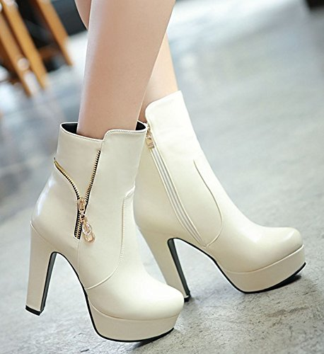 Aisun Womens Stylish Round Toe Double Side Zipper Dress Platform Booties Chunky High Heel Ankle Boots Shoes Beige uDXXemhzs