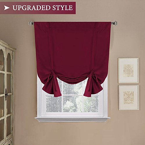 H.Versailtex Blackout Adjustable Tie Up Shade & Curtain (Thermal Insulated Rod Pocket Panel for Small Window) - 42