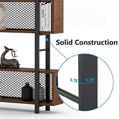 Tribesigns 5-Shelf Bookshelf with Metal Wire, Vintage Industrial Bookcase Display Shelf Storage Organizer with Metal Frame for Home Office, 47.2'' L x 9.4'' D x 71'' H (Retro Brown) by Tribesigns (Image #6)