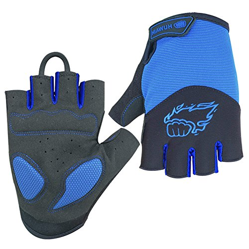 HuwaiH Cycling Gloves Mountain Bike Gloves Anti-Slip Shock-Absorbing Pad Biking Gloves Bicycle Road Racing Riding Gloves Half Finger Breathable Cycle Gloves for Men and Women (Blue, ()