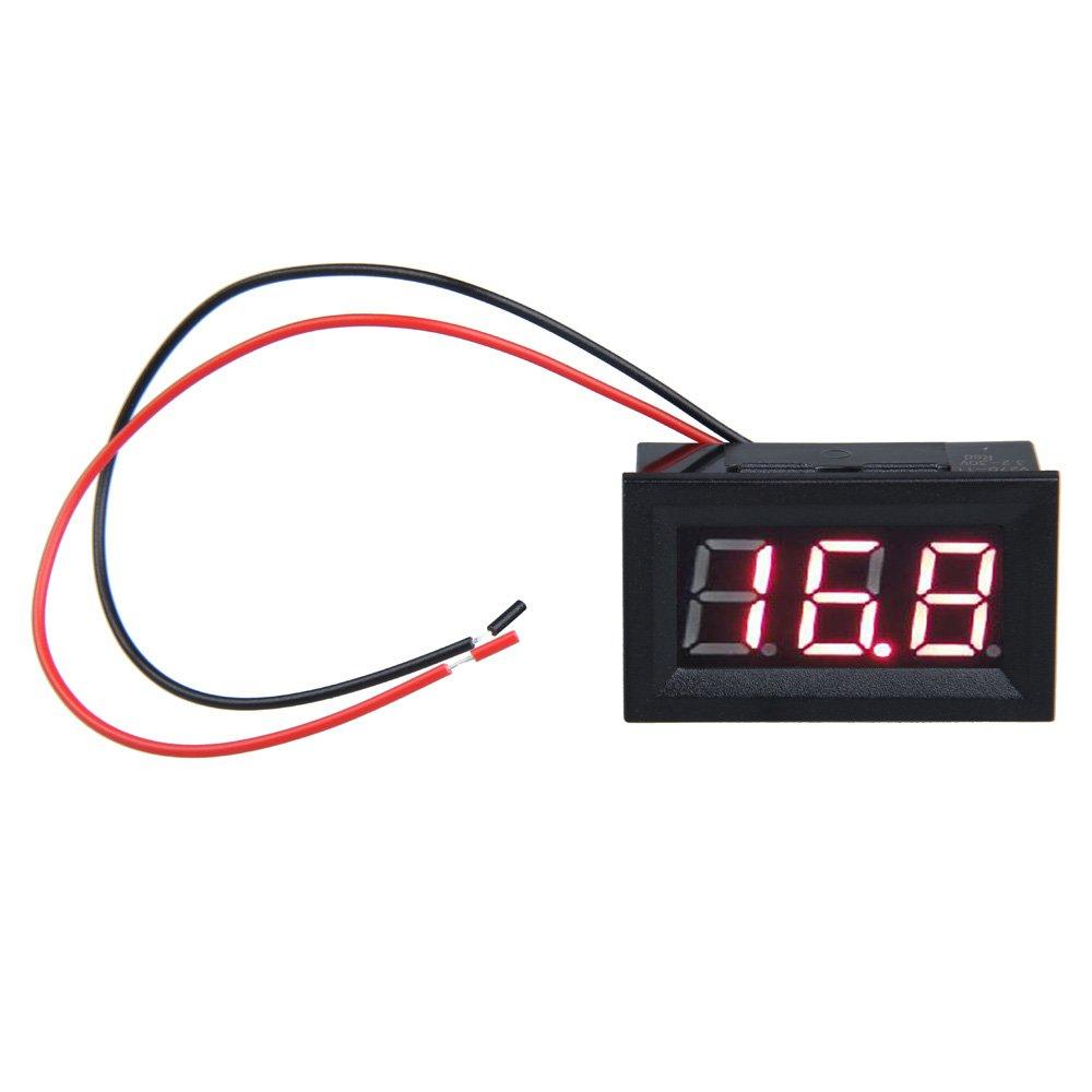 Hrph 0.56inch LCD DC 3.2-30V LED rojo Medidor de panel digital del voltí metro con dos hilos 10025