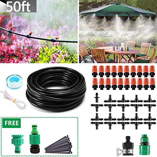 MSDADA Micro Irrigation Kits, 50ft Patio Plant Watering System Kit 4mm/7mm Tube DIY Garden Drip Irrigation System
