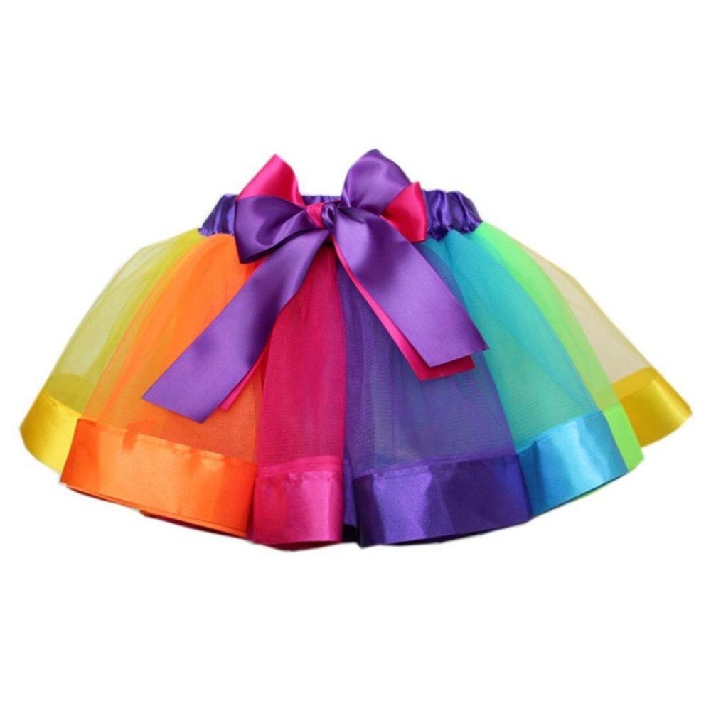 Genenic Little Girls Layered Rainbow Ribbon Tutu Skirt Ballet Tiered Ruffle Clubwear