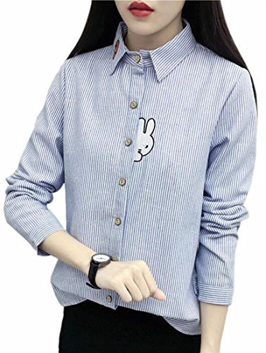 Womens Long Button Embroidery today UK Lined Shirt Winter Down Sleeve Blue Fleece FwYU5UgxT