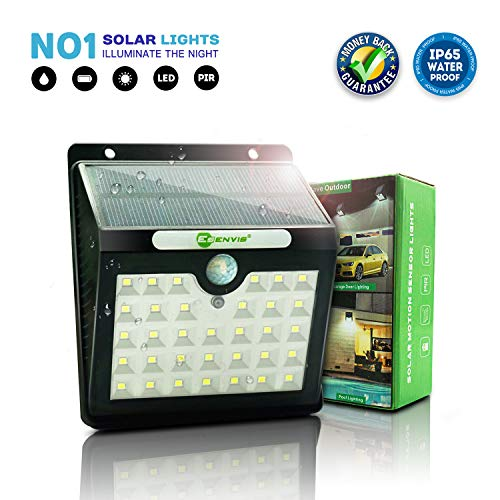 Solar Lights Outdoor, Solar Motion Sensor Lights 33 LED Wireless Solar Powered Waterproof Security Wall Lights for Patio, Deck, Yard, Garden, Step, Driveway by Esenvis