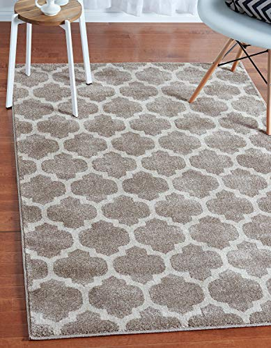 Unique Loom Trellis Collection Moroccan Lattice Tan Area Rug (4' 0 x 6' 0)