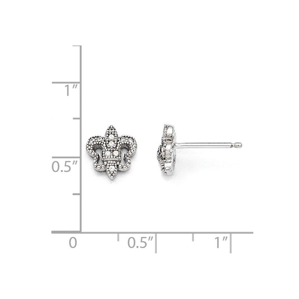 Solid .925 Sterling Silver /& CZ Cubic Zirconia Brilliant Embers Polished Fleur De Lis Post Earrings 8x10mm