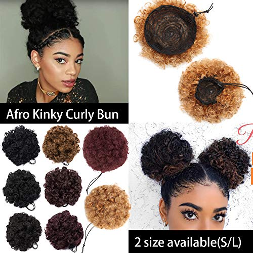 Synthetic Drawstring (S-noilite Afro Bun Extension Puff Ponytail Chignon Hairpiece With Drawstring Afro Kinky Curly Wrap Messy Updo Synthetic For Black Women(8inch, 1pcs dark black))