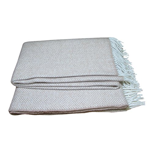 Irish Merino Cashmere Wool Throw Blanket (Light Brown)