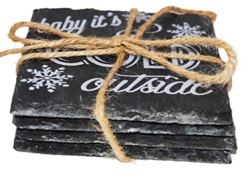 Holiday and Christmas Slate Coaster 4 pk in a Gift Box (White