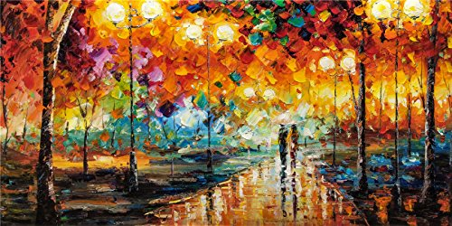 Modern Original Artwork Prints Painting On Canvas Lover Couple Walking In The Rain Night Landscape Wall Art Decorations for Living Room (24x48 inch)