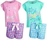 Sleep On It Girls 4-Piece T-Shirt and Short Spring Pajama (2 Full Sets) Unicorn Stars, Size 10/12'