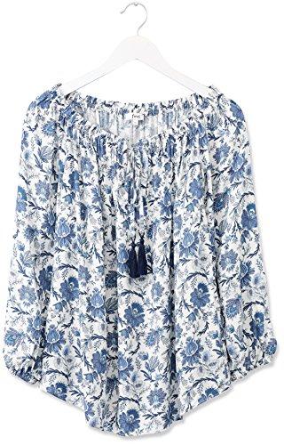 FIND Top Estilo Bardot con Lazada para Mujer Azul (Blue Mix)